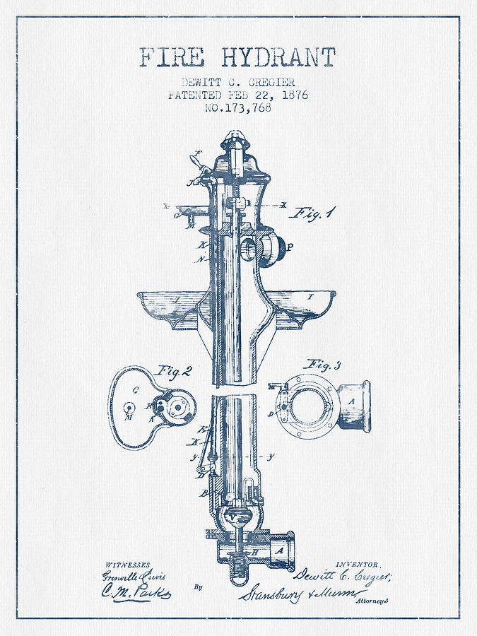 675x900 Fire Hydrant Patent From 1876 Blue Ink Digital Art By Aged Pixel