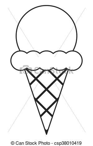 299x470 Ice Cream Cone. Simple Black Line Ice Cream With Cone Icon Vector
