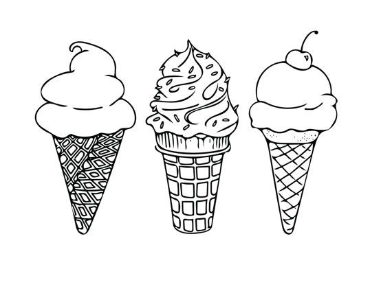 570x440 Printable Coloring Sheet, Instant Download, Ice Cream Cones