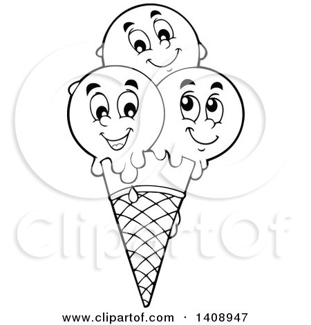 450x470 Clipart Of A Black And White Lineart Waffle Ice Cream Cone
