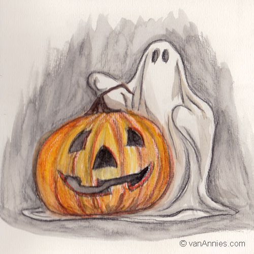 500x500 Halloween Sketch, A Tiny Little Watercolor Painting By Annie Dunn