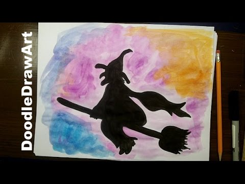 480x360 How To Draw A Witch On A Broom For Halloween