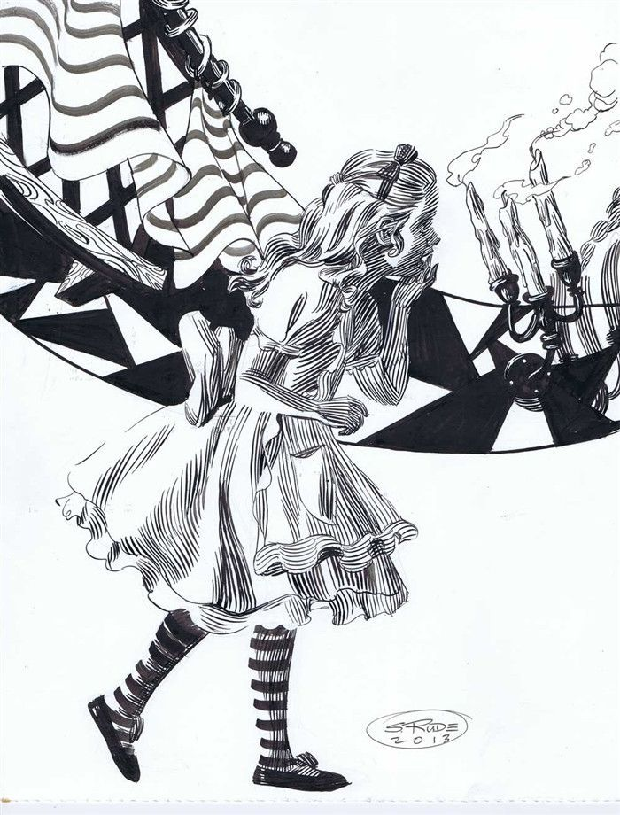 700x920 Alice Running Pen And Ink Bristol, Alice And Ink Drawings