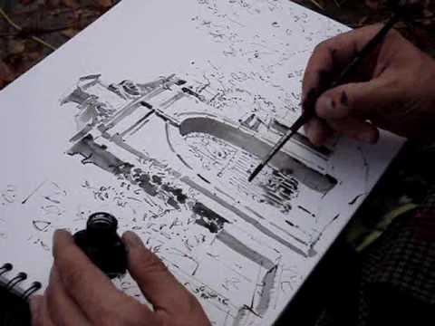 480x360 Drawing With Indian Ink In Open Air Water Ink Art