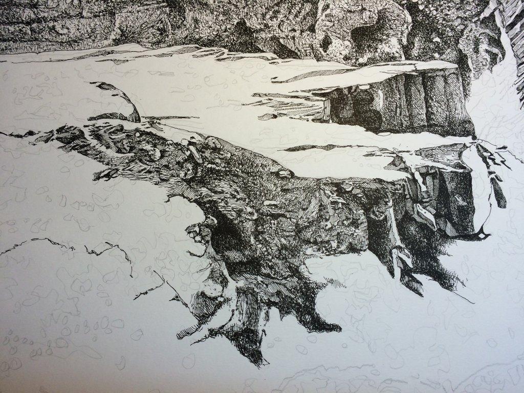 1024x768 Ink Drawing Landscape Detailshot From Our Bw Landscape India Ink