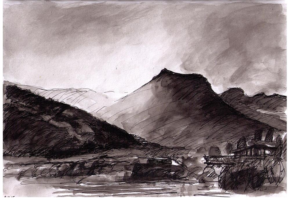 1000x689 Mountain Scene In Bhutan. Drawing In Ballpoint Pen And India Ink
