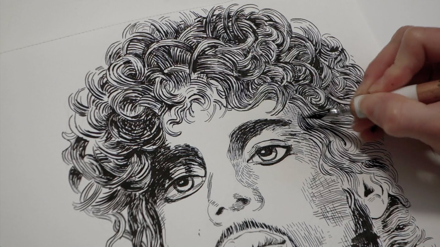 1438x807 Prince Drawing Tribute With India Ink And Dip Pen