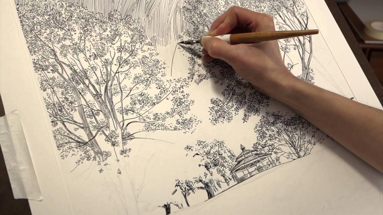 1280x720 Time Lapse Drawing Dip Pen, India Ink, Landscape