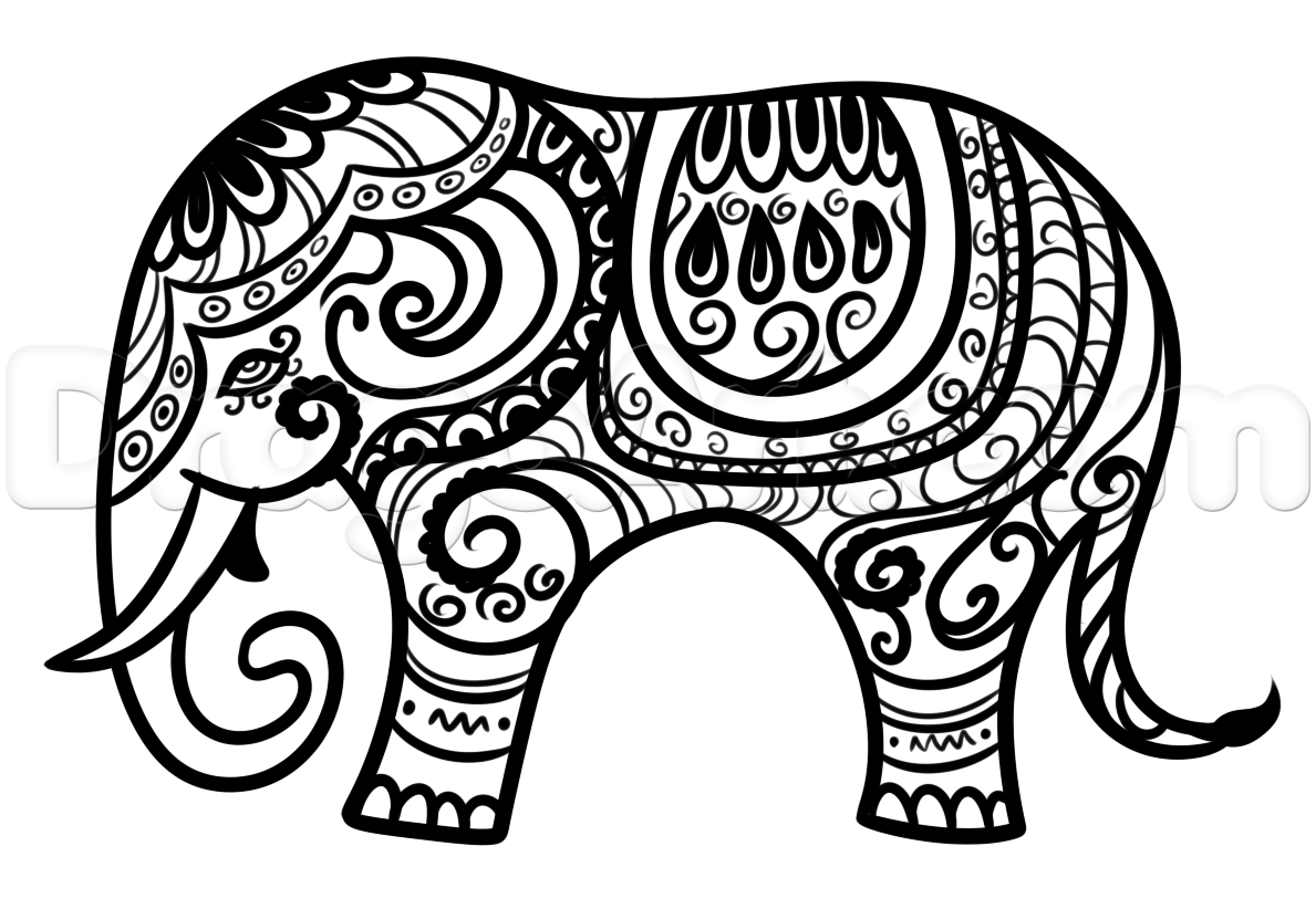1189x822 Collection Of Indian Elephant Drawing Simple High Quality
