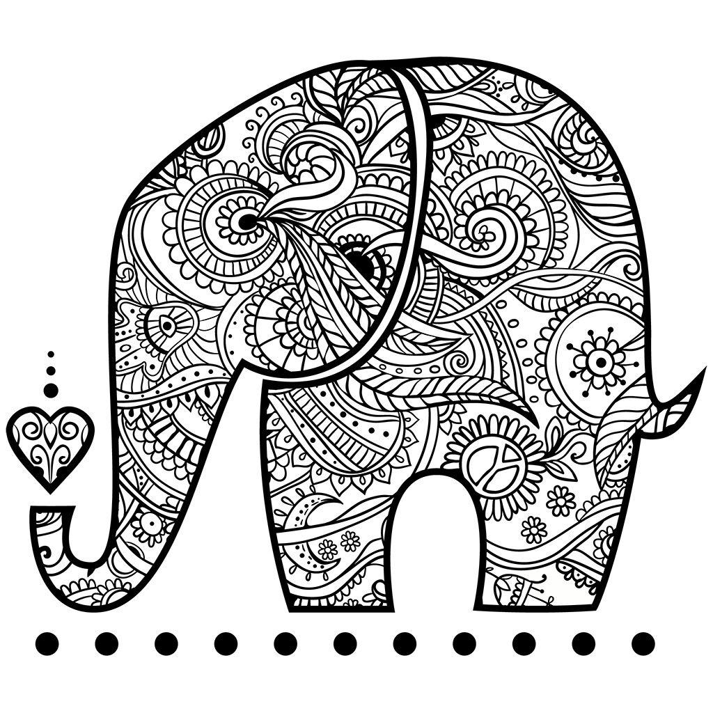 1024x1024 Pin By Coloring Pages Adults On Elephant Coloring Pages