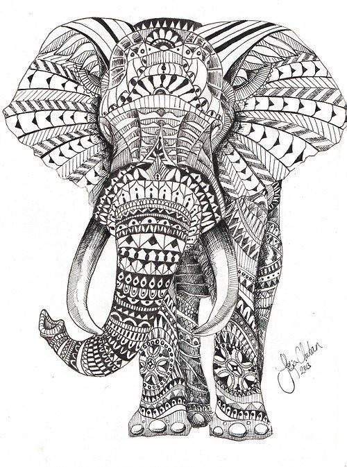 500x673 Elephant Coloring Pages For Adults