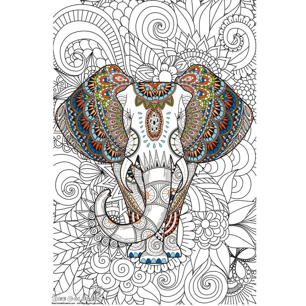 1025x1025 Great2bcolorful African Elephant Coloring Poster (24''X 36'') Usa