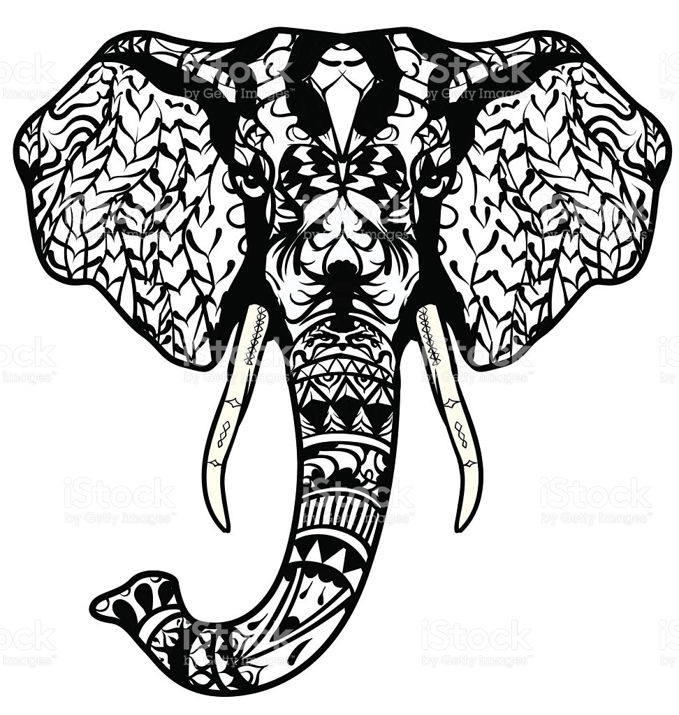 972x1024 Crammed Abstract Elephant Coloring Pages For Adults Happy