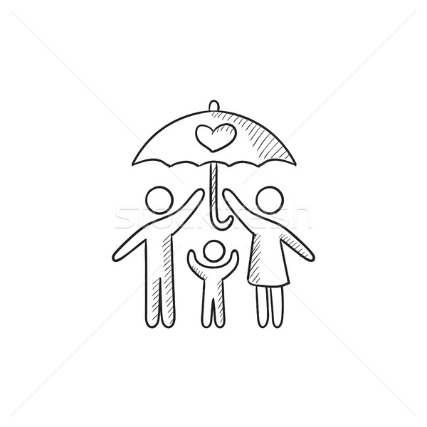 600x600 Family Insurance Sketch Icon. Vector Illustration Andrei