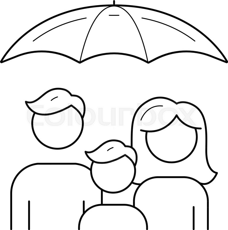 794x800 Family Insurance Vector Line Icon Isolated On White Background
