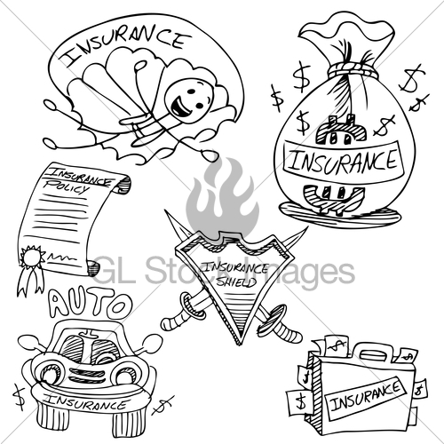 500x500 Insurance Drawing Set Gl Stock Images