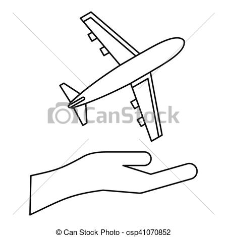 450x470 Insurance Flights Concept Icon, Outline Style. Insurance