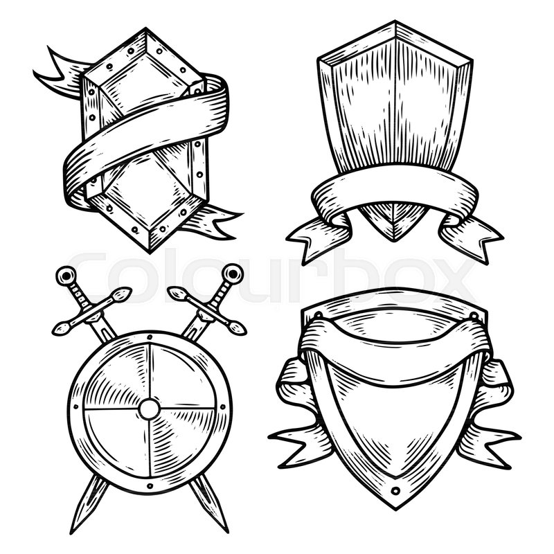 800x800 Sketch Blank Or Empty Shields With Swords And Ribbons. Set