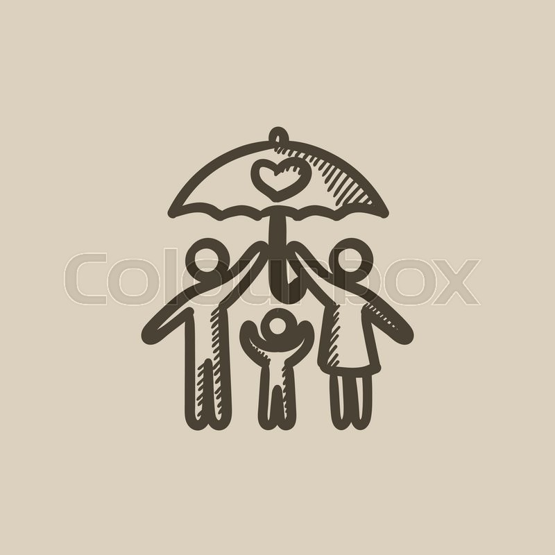 800x800 Family Insurance Vector Sketch Icon Isolated On Background. Hand