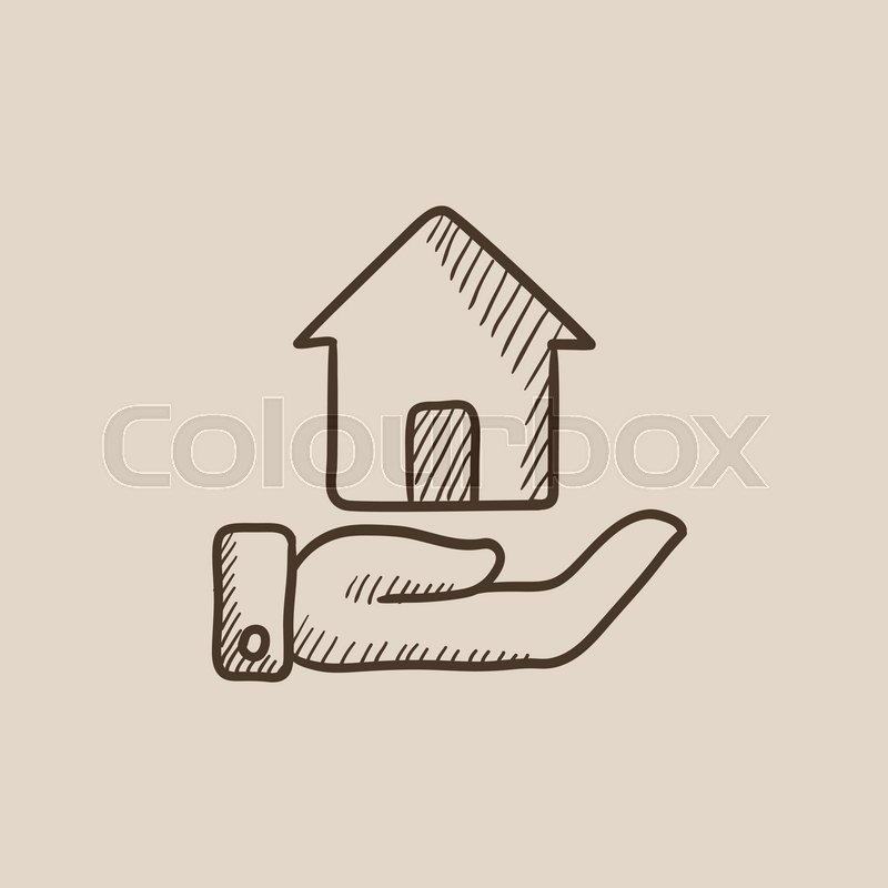 800x800 House Insurance Sketch Icon For Web, Mobile And Infographics. Hand