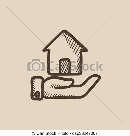 450x470 House Insurance Sketch Icon. House Insurance Vector Sketch Icon
