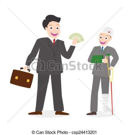 450x470 Insurance Agent Paying Compensation Money To Injured Vector
