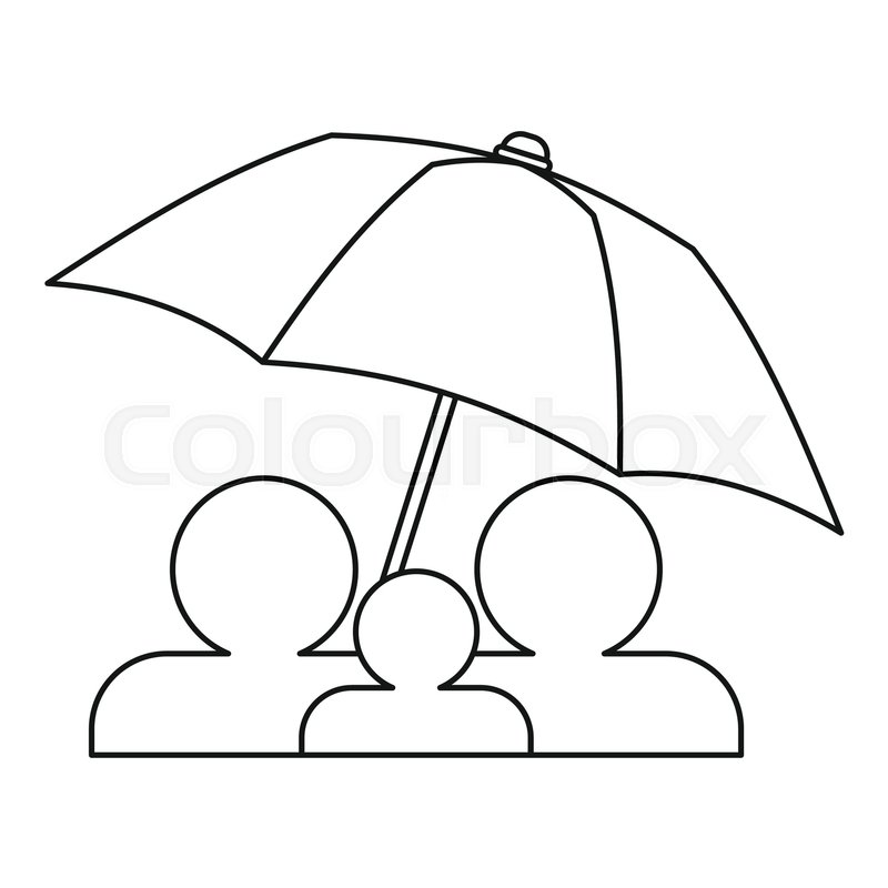 800x800 Family Insurance Concept Icon. Outline Illustration Of Family