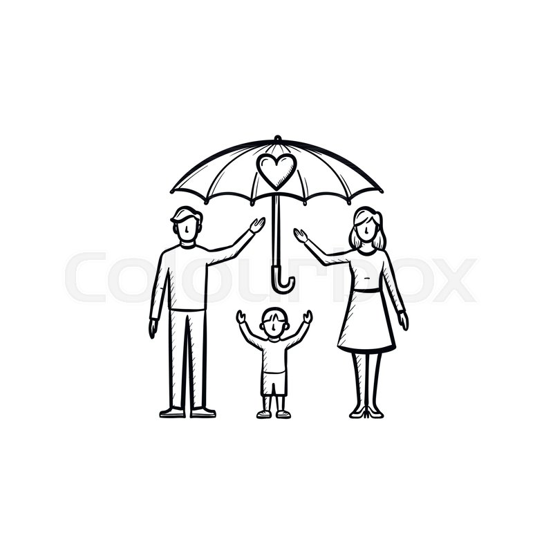 800x800 Family Insurance Hand Drawn Outline Doodle Icon. Umbrella Over