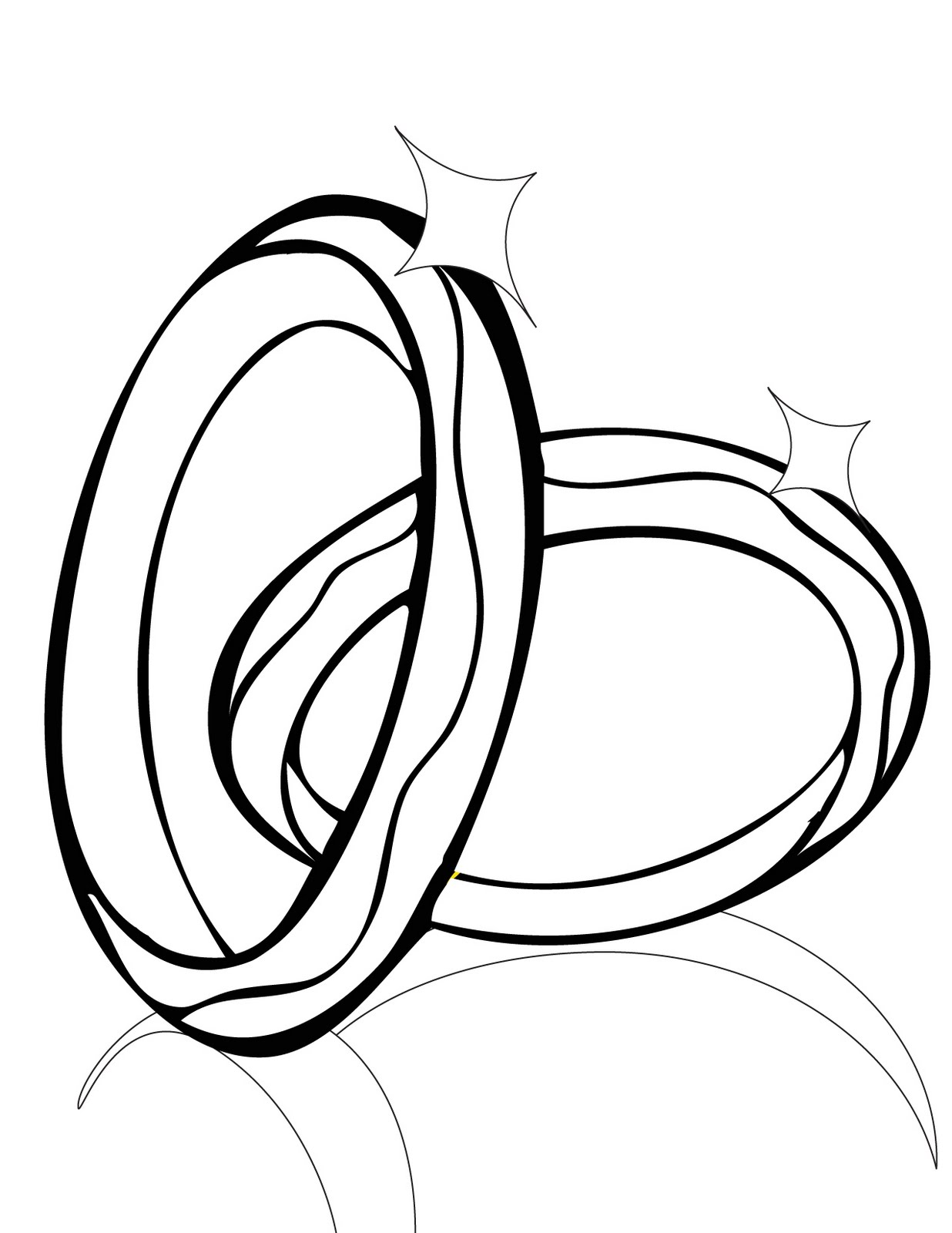 Interlocking Wedding Rings Drawing