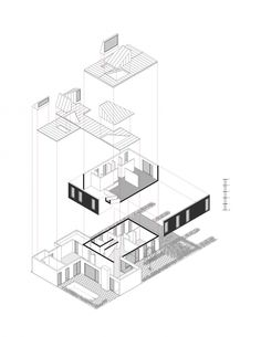 236x305 Exploded Isometric Drawing Of James Stirling Archive Proposal