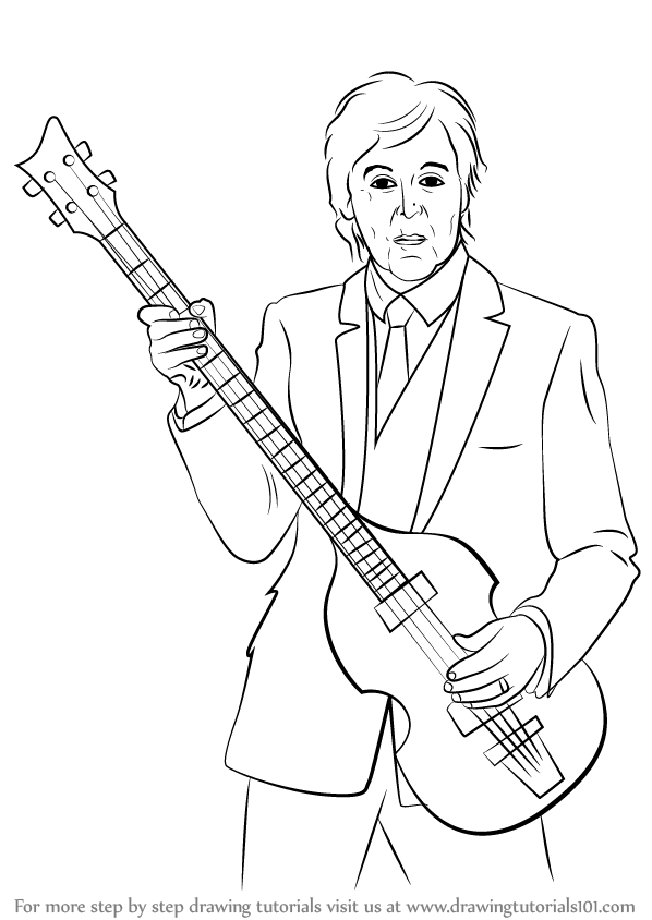 598x844 Learn How To Draw Paul Mccartney (Singers) Step By Step Drawing