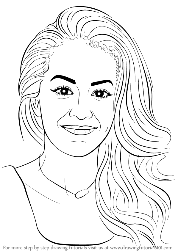 598x844 Learn How To Draw Rita Ora (Singers) Step By Step Drawing Tutorials