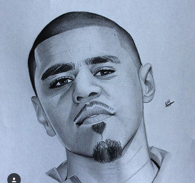 400x377 J. Cole Drawing By Deshaunyoung