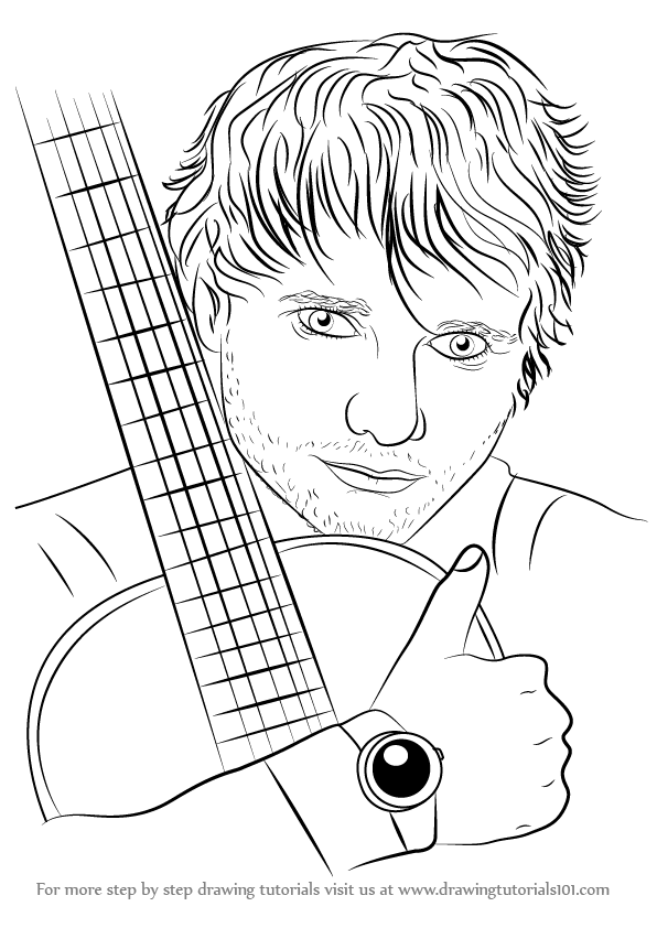 596x842 How To Draw Ed Sheeran Printable Step By Step Drawing Sheet