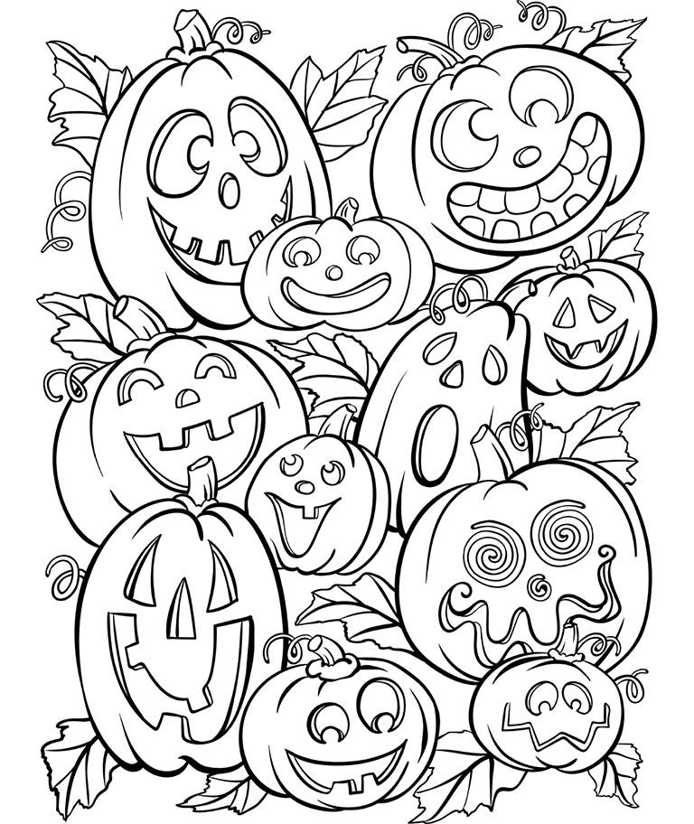 768x912 Jack O' Lanterns Coloring Page