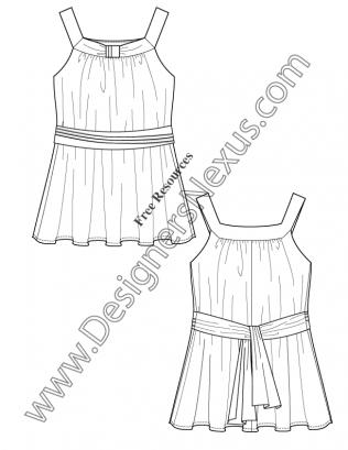 316x409 V56 Sash Waist Top Illustrator Flat Fashion Sketch
