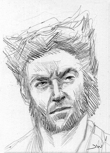 358x500 Wolverine X Men Hugh Jackman Aceo Sketch Card By Jeff Ward