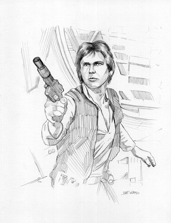 597x781 Han Solo Star Wars Drawing By Jeff Ward