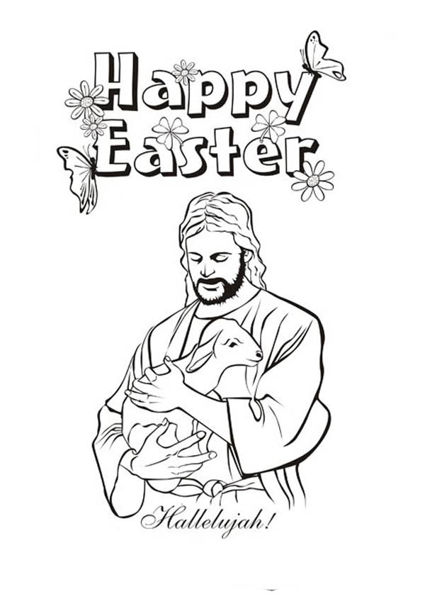 600x862 Jesus Christ And Lamb In Resurrection Coloring Page