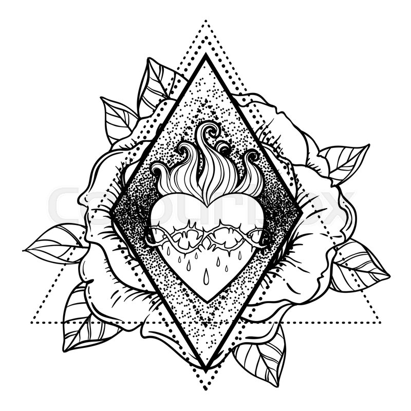 800x800 Collection Of Jesus Heart Drawing High Quality, Free