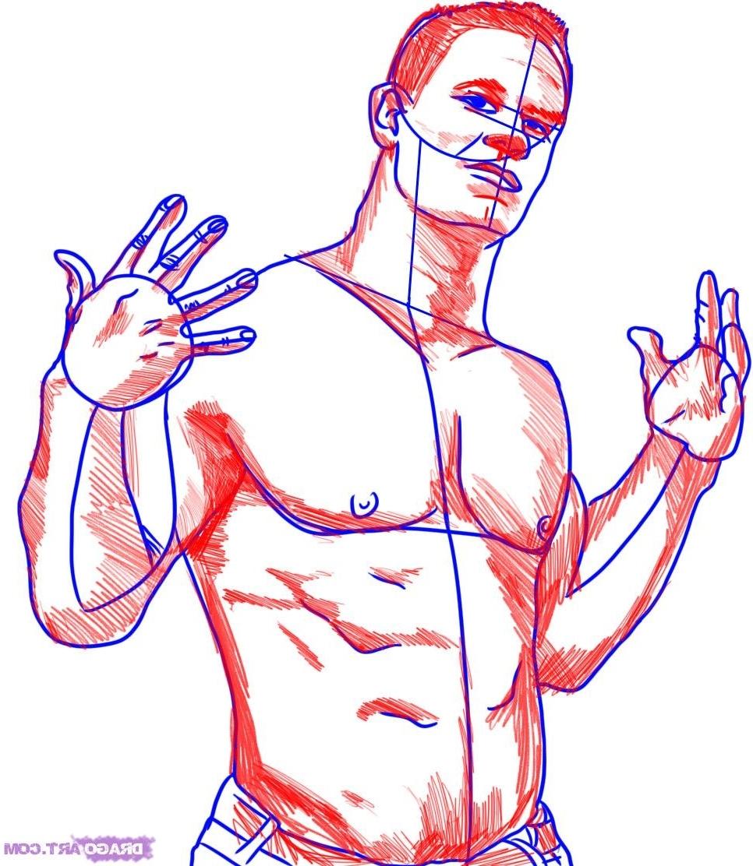 966x1112 John Cena Cartoon Full Image Drawing How To Draw John Cena Step