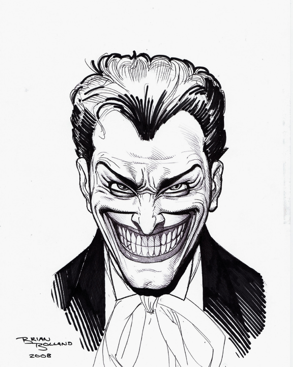 997x1250 Brian Bolland Fine Ink Joker Illustration, In Rob Pistella's Other