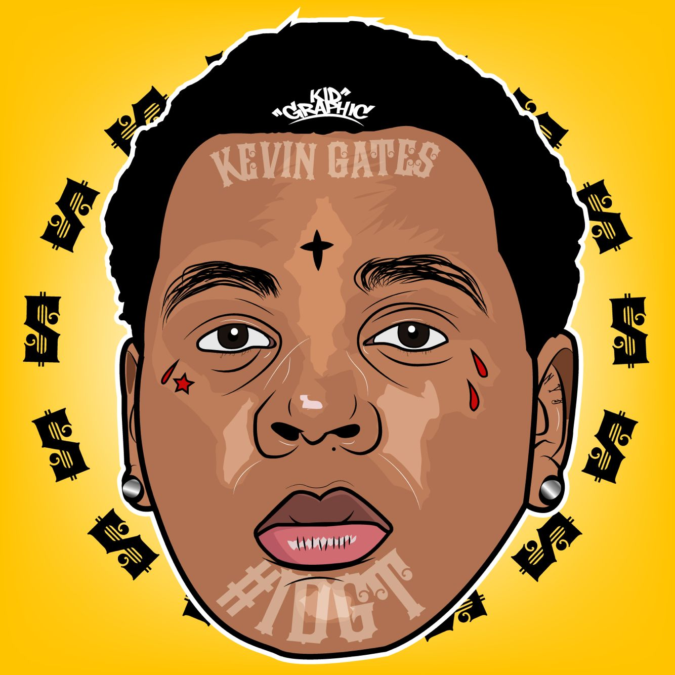 1334x1334 Kevin Gates Black Cartoon Art Kevin Gates