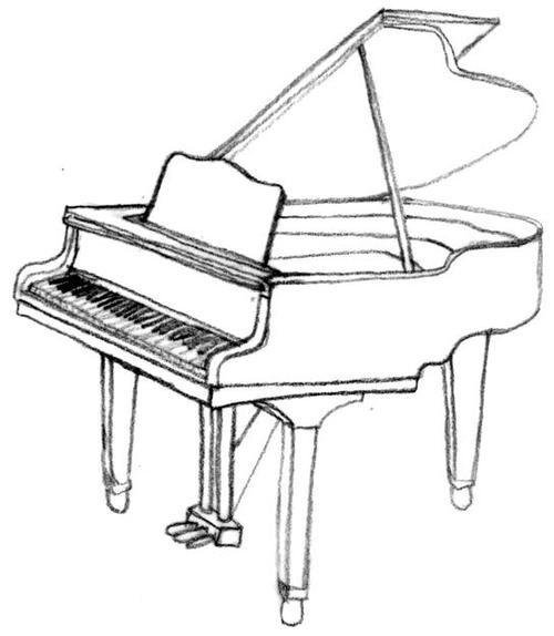 500x574 Piano Drawing