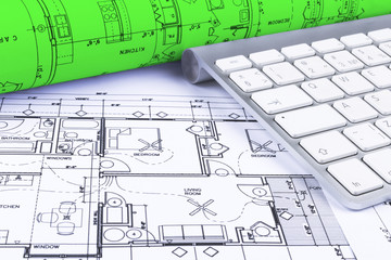 360x240 Architectural Blueprint Drawings Of The Modern House With Computer