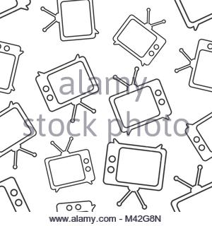 300x320 Tv Icon In Line Style Seamless Pattern Background. Business Flat
