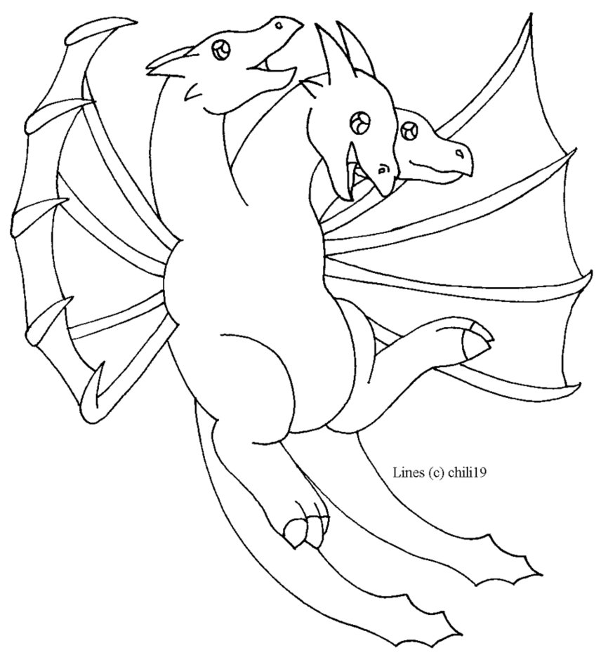856x933 King Ghidorah Lines By Chili19 On DeviantArt