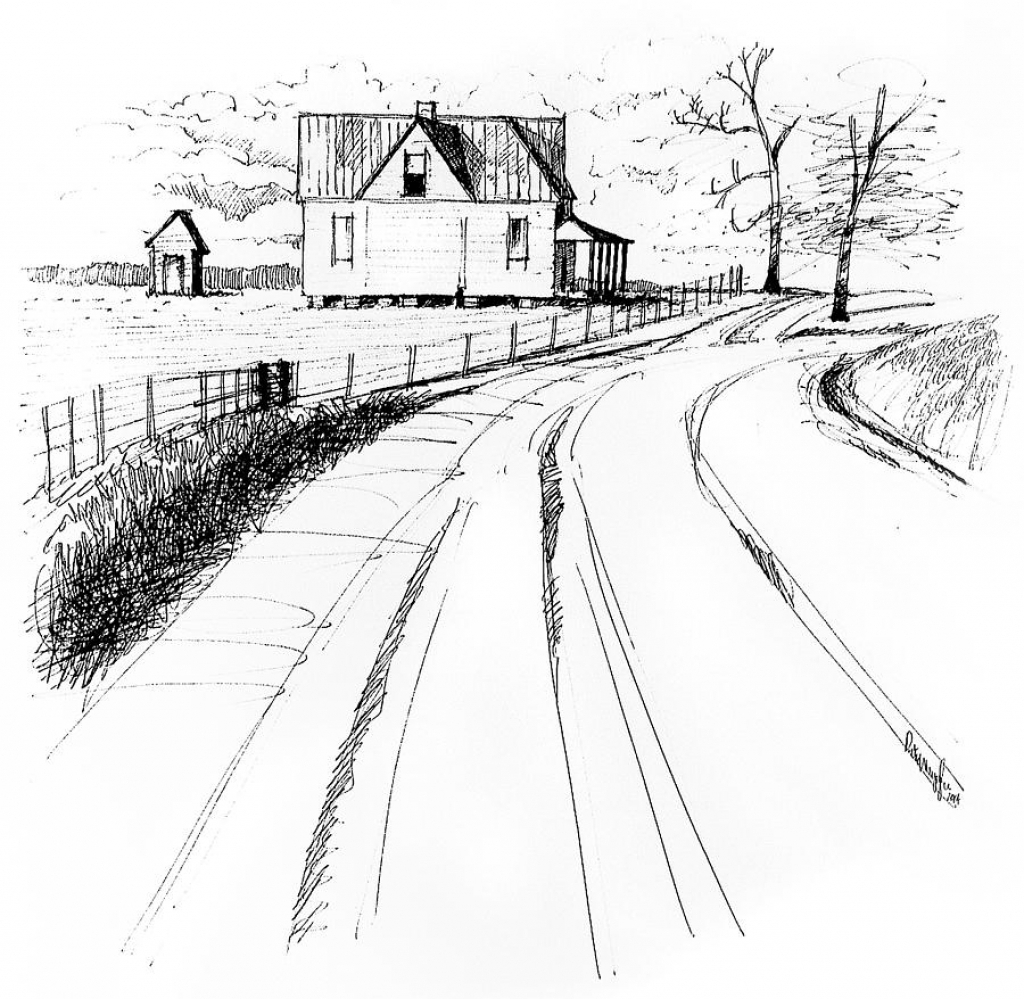 1024x999 Line Drawings Of Landscapes Landscape Line Drawings