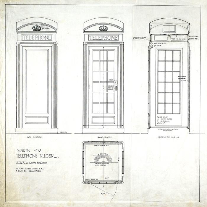 700x700 Design For Gpo Telephone Kiosk, 1924