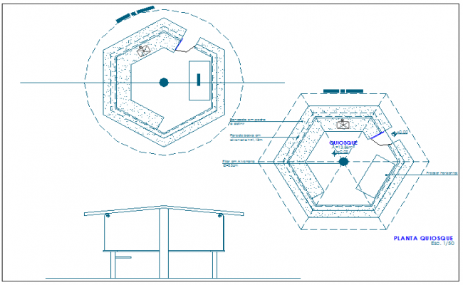 650x400 Kiosk Of Garden Elevation And Sectional View Dwg File